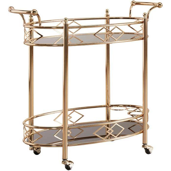 A gold bar cart