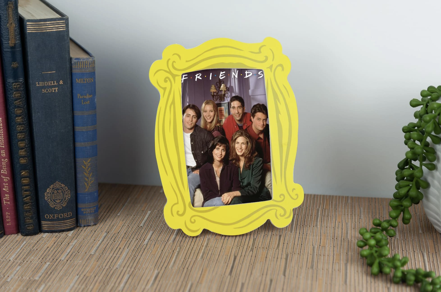 Friends-themed picture frame shaped like the yellow frame around the peephole in Monica's apartment