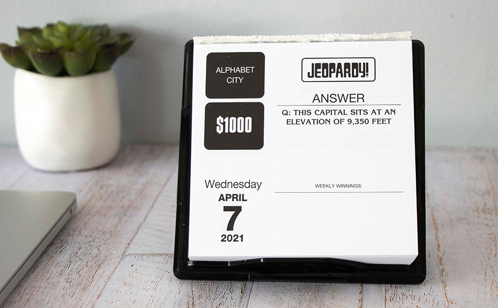 Jeopardy daily calendar with questions category, reward, sample answer and date