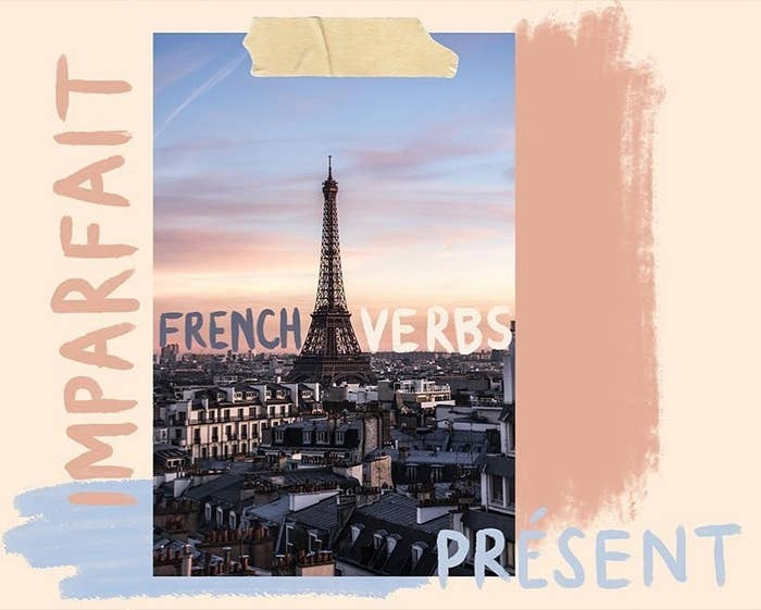 """a pastel graphic showing the Eiffel tower with the words """"French verbs,"""" """"imparfait,"""" and """"present"""" written around it"""