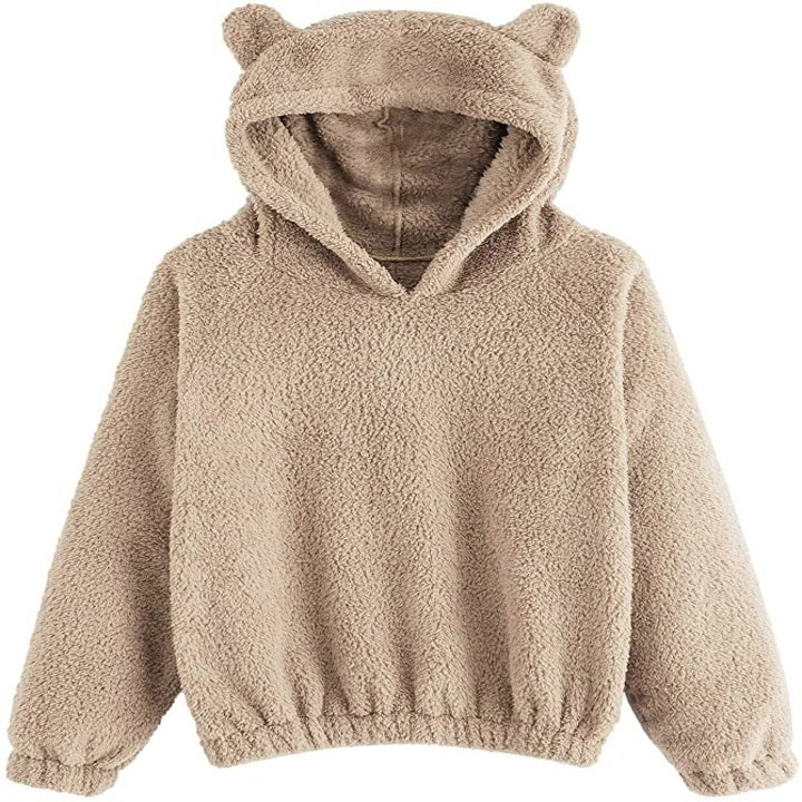 the brown sweater with bear ears on the hoodie