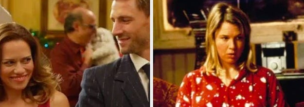 side-by-side still images of Snowed Inn Christmas and Bridget Jones's Diary