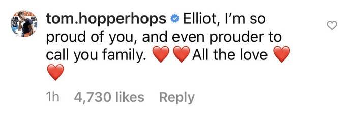 Screenshot on an Instagram comment from Tom Hopper