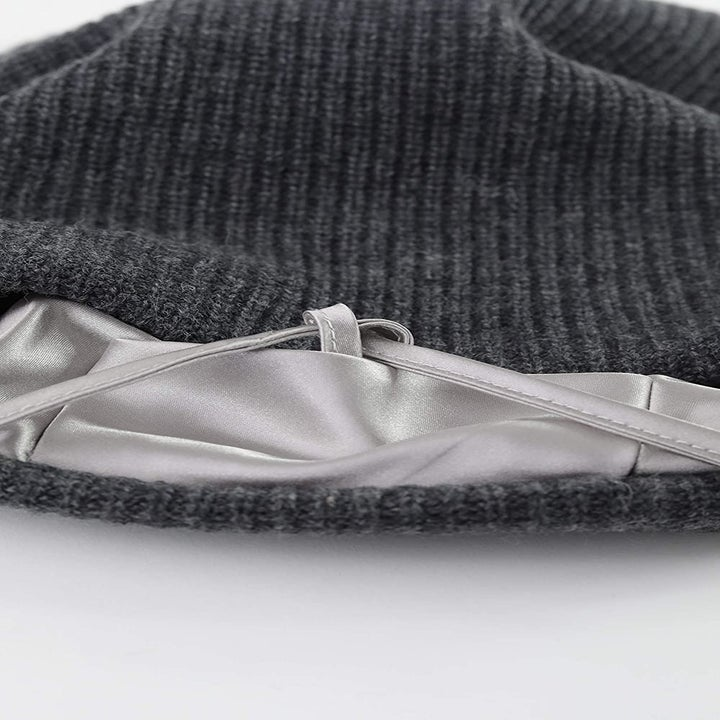 A close-up on the cap's satin lining