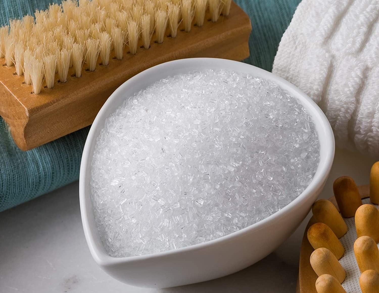 A bowl of saltworks lavender scented epsom salt