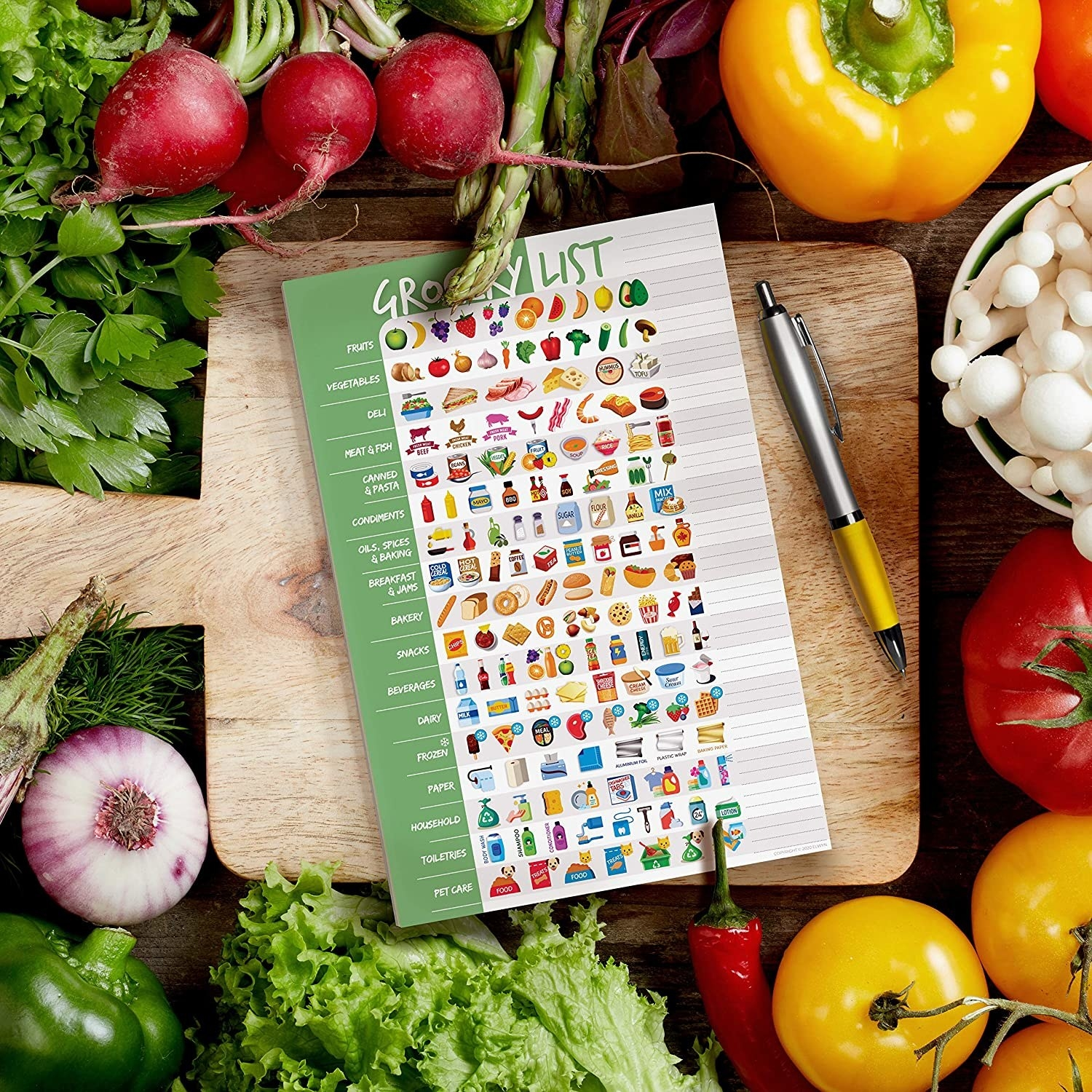 The colorful pad with food icons arranged in categories from fruits to pet care to deli to snacks