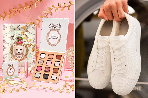 On the left, a Too Faced makeup set. On the right, a pair of white sneakers