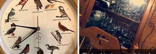 bird clock and a cabinet you can't touch