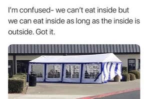 A meme of outdoor dining, captioned