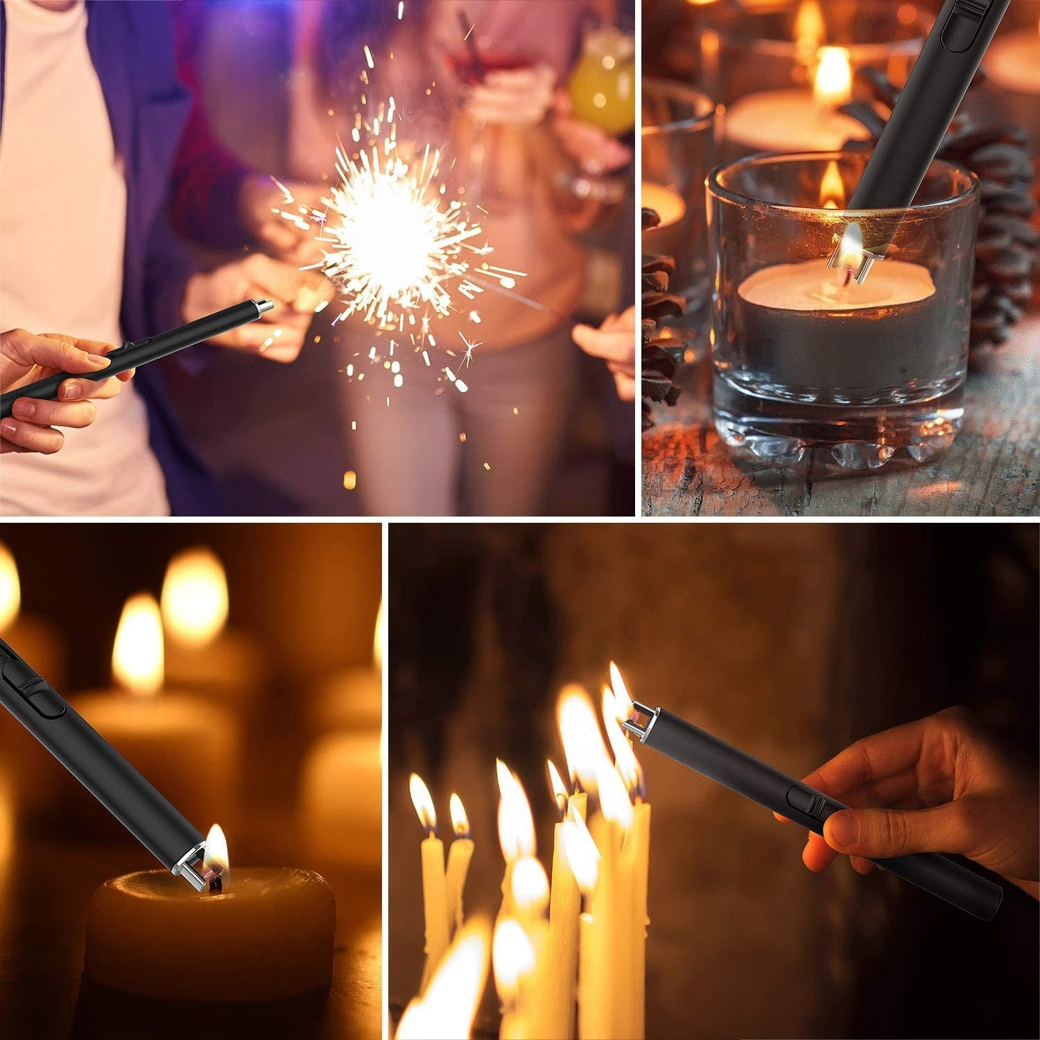 black lighter with electric current used to light candles and sparklers