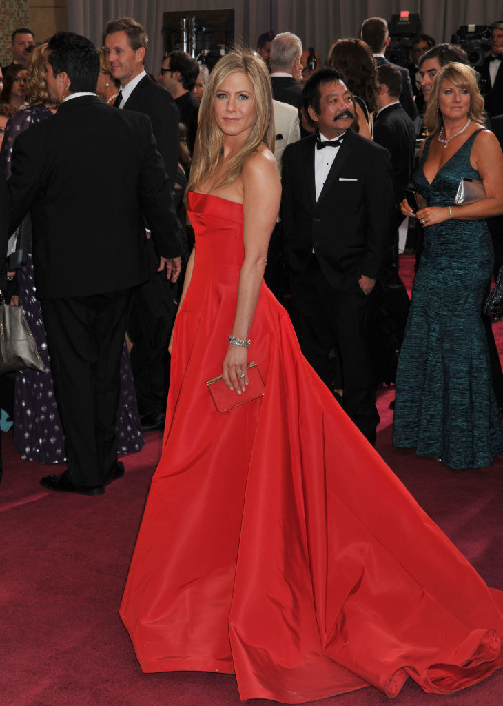 in a red gown