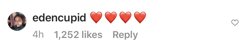 Screenshot on an Instagram comment from Eden Cupid