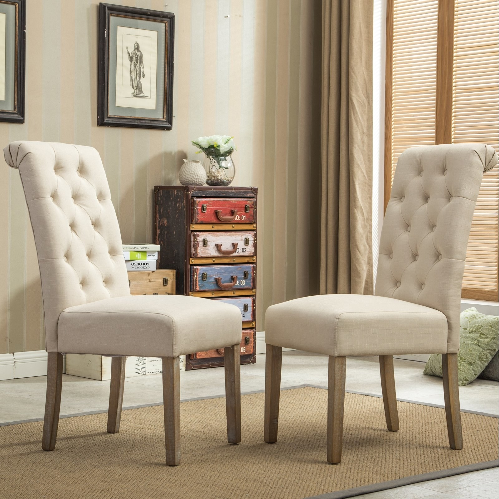 Tufted tan dining chairs