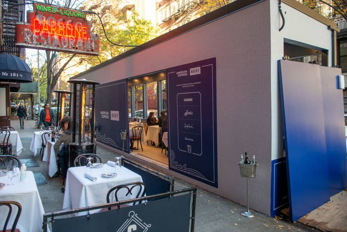 An outdoor dining setup in New York City.