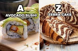 Avocado sushi and zebra cake