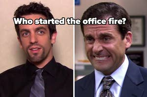 who started the office fire? over ryan and michael's pictures