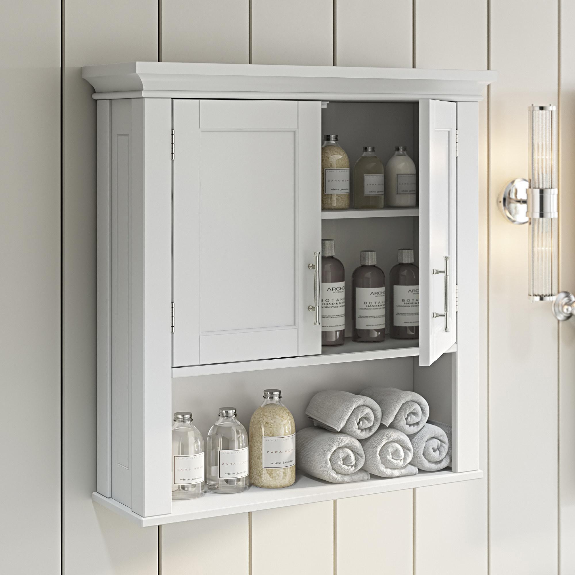 The white bathroom storage cabinet