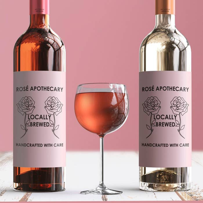 """A pink wine label that says """"rosé apothecary"""" and looks like the logo from the store on Schitt's Creek"""