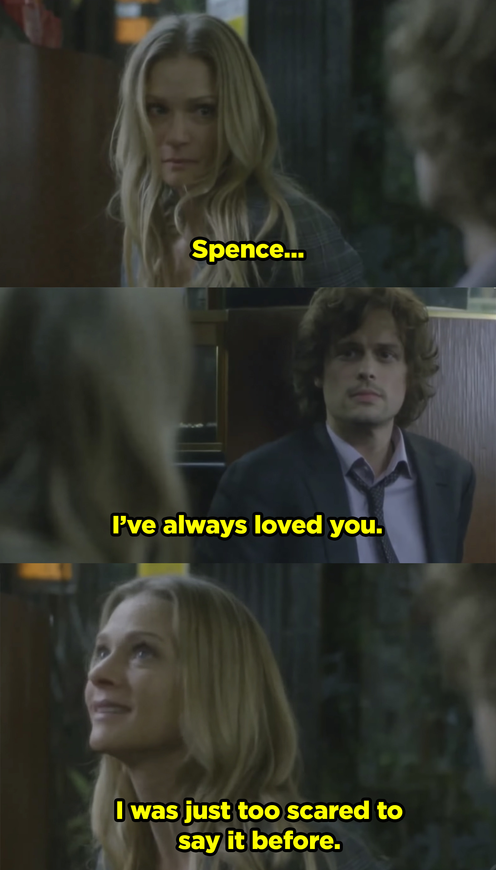 JJ admitting to Spencer that she's in love with him while they were both being held hostage.