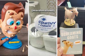 split thumbnail of Dr. Pimple Popper game, toilet paper marshmallows, screaming goat toy