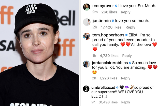 """Elliot Page Is Receiving Messages Of Support From His """"Umbrella Academy"""" Castmates After Coming Out As Trans"""