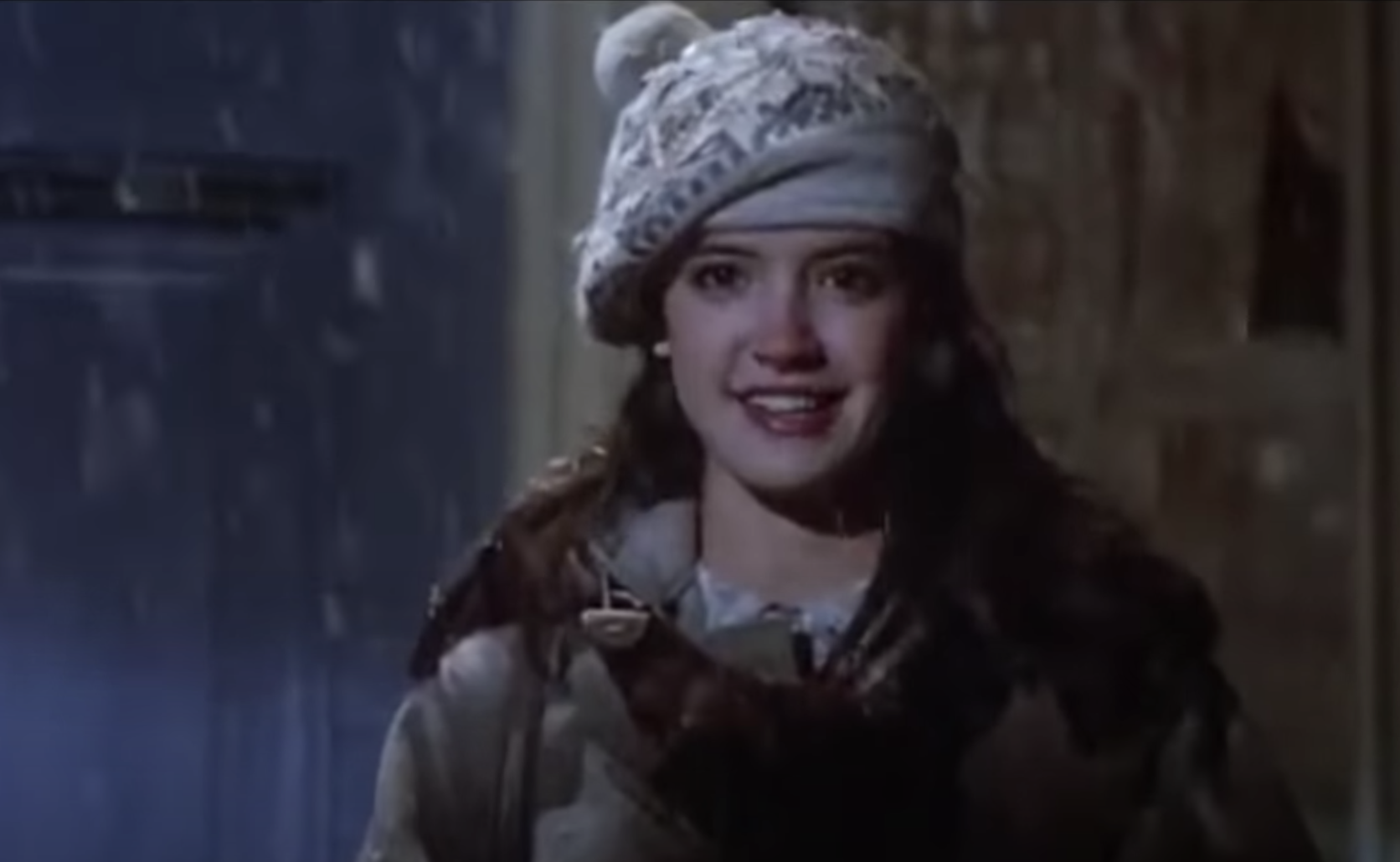 The wonderful Phoebe Cates wearing a cute Christmas hat
