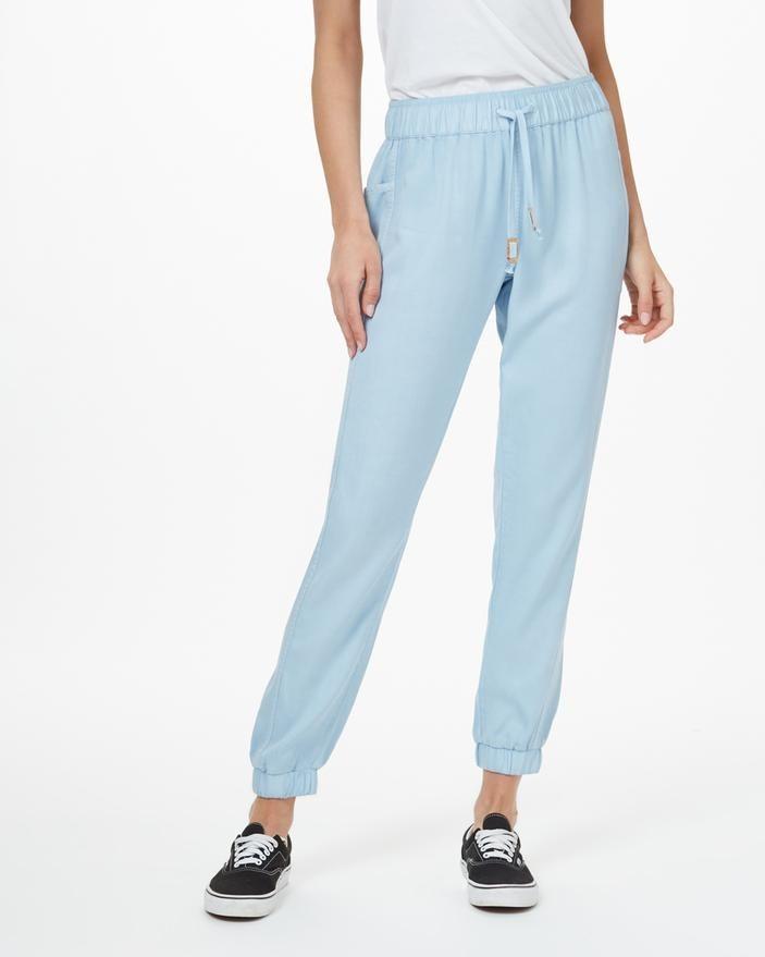 a model wearing the light blue pants