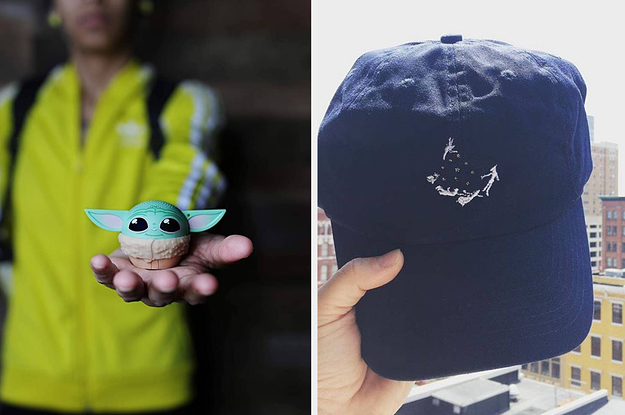 to the left: a small baby yoda speaker, to the right: an embroidered disney hat