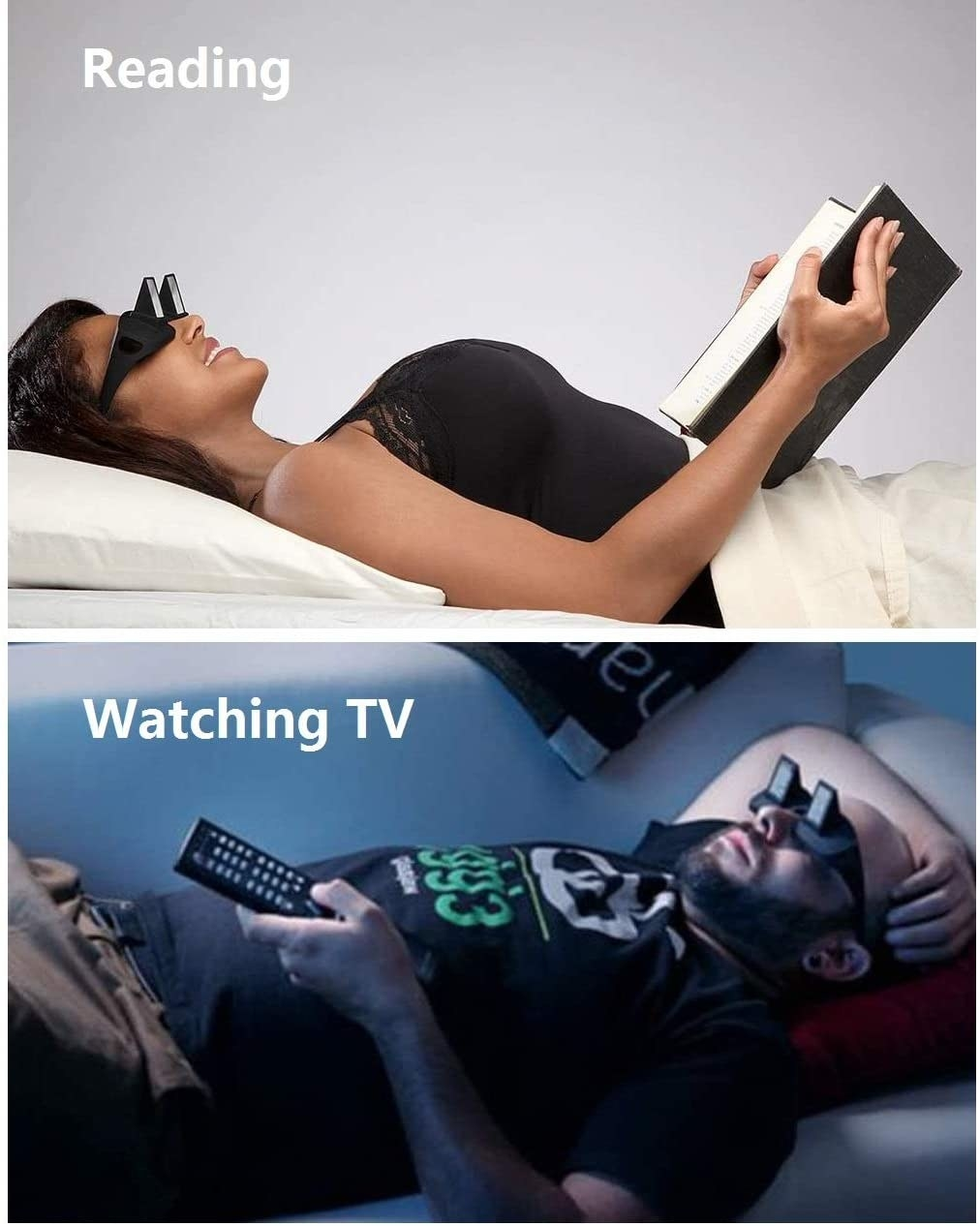 person lying down wearing the glasses and watching TV.