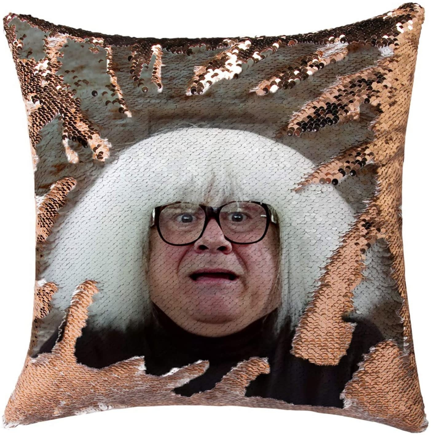 "reversible sequin pillow cover with a pic of danny devito from ""It's Always Sunny"" on it"