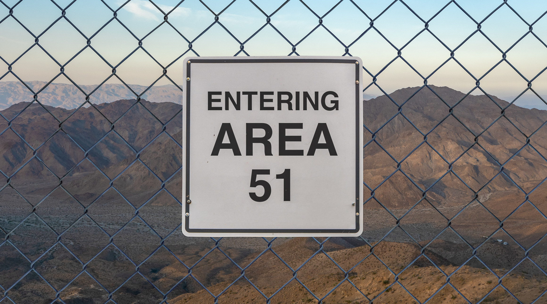 Area 51 sign on a chain-link fence