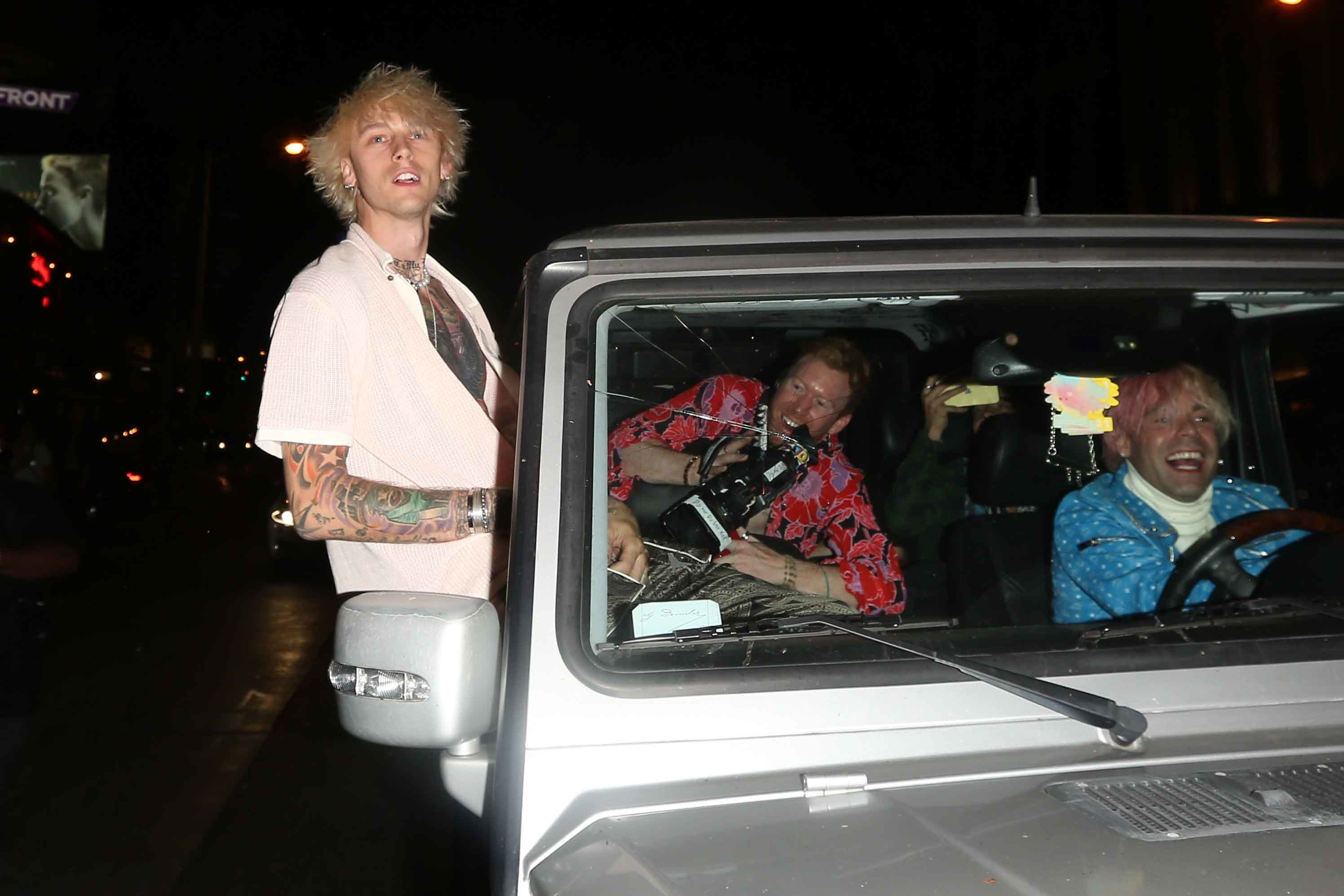 Machine Gun Kelly seen leaving the saddle ranch on October 1, 2020 in Los Angeles, California