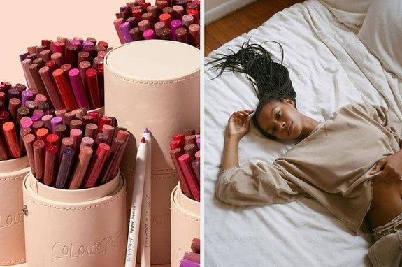 Lip pencils / a model in sweats on a bed
