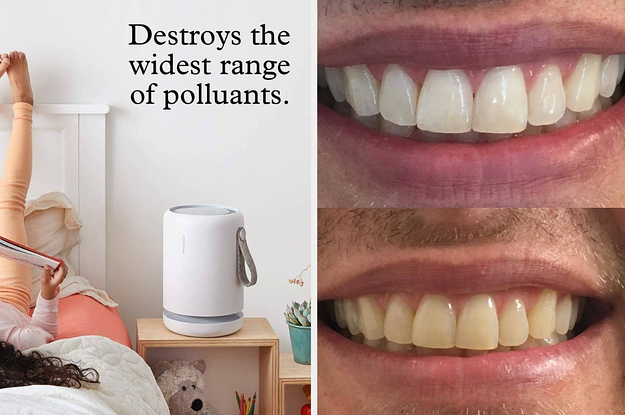 L: Cylindrical tower air filter R: Before and after of reviewer's teeth showing Crest Whitestrips significantly lightened their teeth