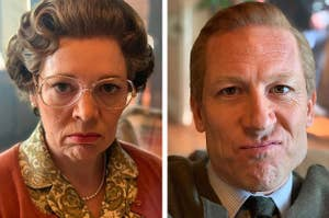 Side by side of Olivia Colman and Tobias Menzes with stern, poker face-like expressions