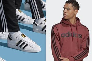 Adidas sneakers and a model wearing an Adidas hoodie