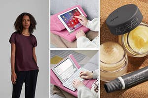 model in satin shirt, ipad lap desk, lip treatments