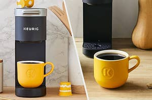 A cup of coffee just brewed from a Keurig K-Mini coffee maker