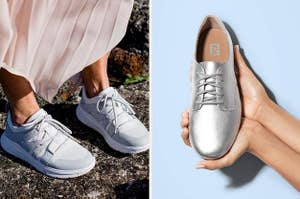 Two panels, from left to right, showing a model wearing a pair of chunky white sneakers and hand holding a metallic silver lace-up oxford shoe