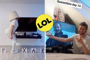 Das Bild auf der linken Seite zeigt einen Mann, der das Pixar Logo nachahmt. Auf der linken Seite hält ein Mann eine Klopapierrolle hoch und grinst.