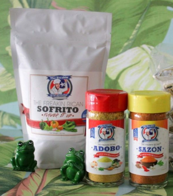 A photo of a bag of sofrito beside a container of adobo and sazon