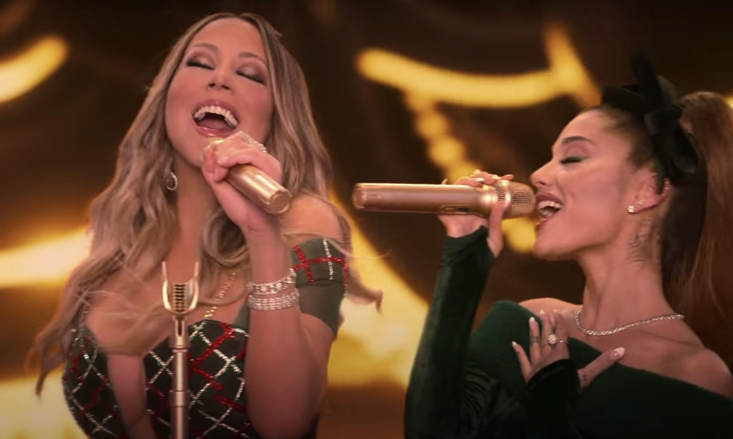 Mariah Carey and Ariana Grande singing