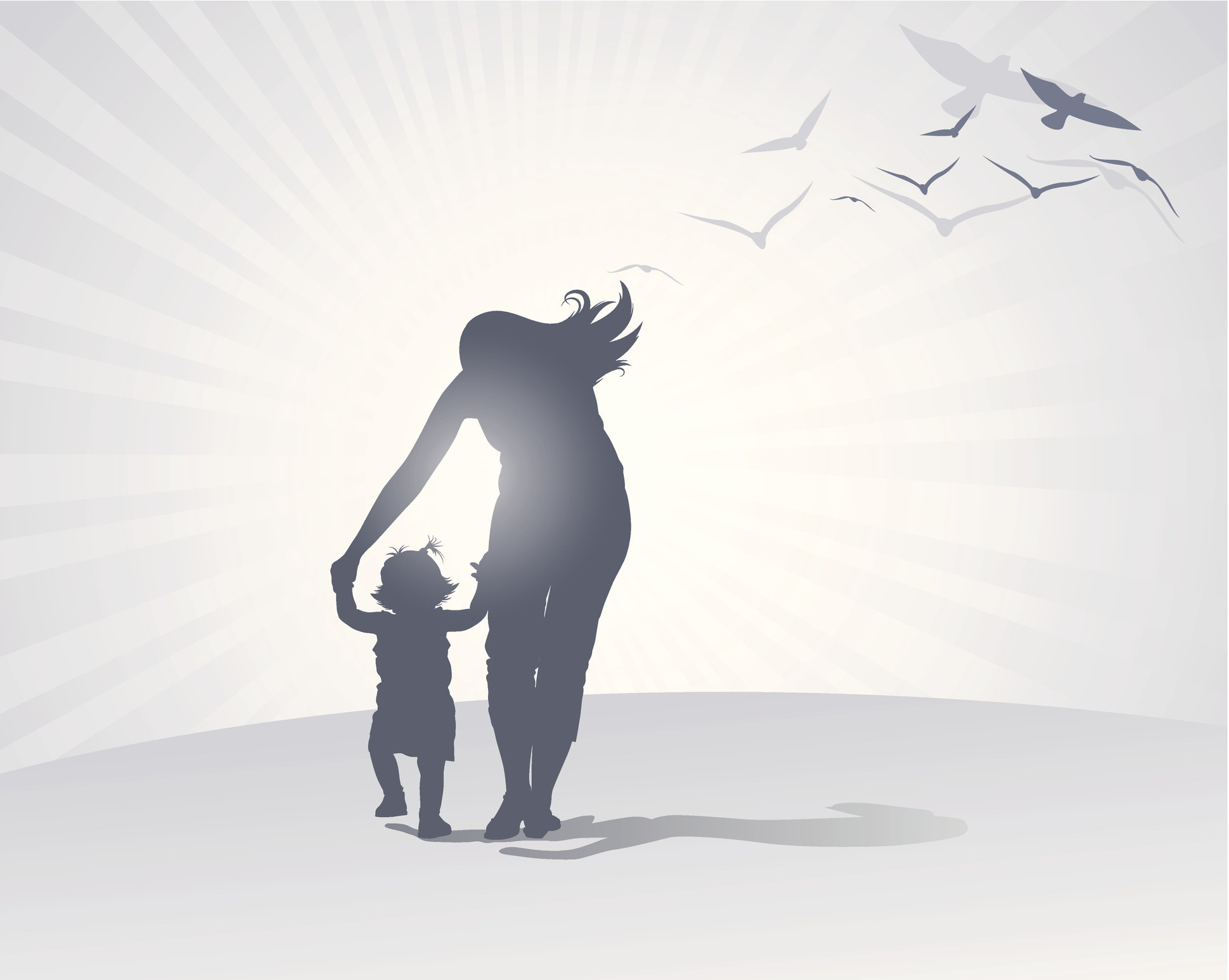 The silhouette of a mother leading a little girl