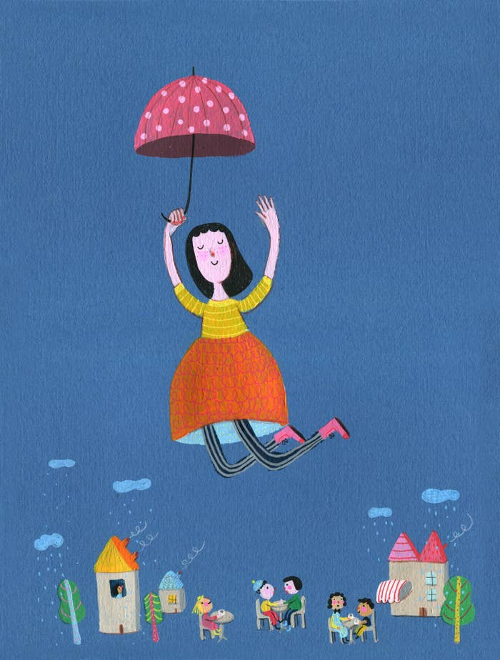 illustration of girl flying with umbrella