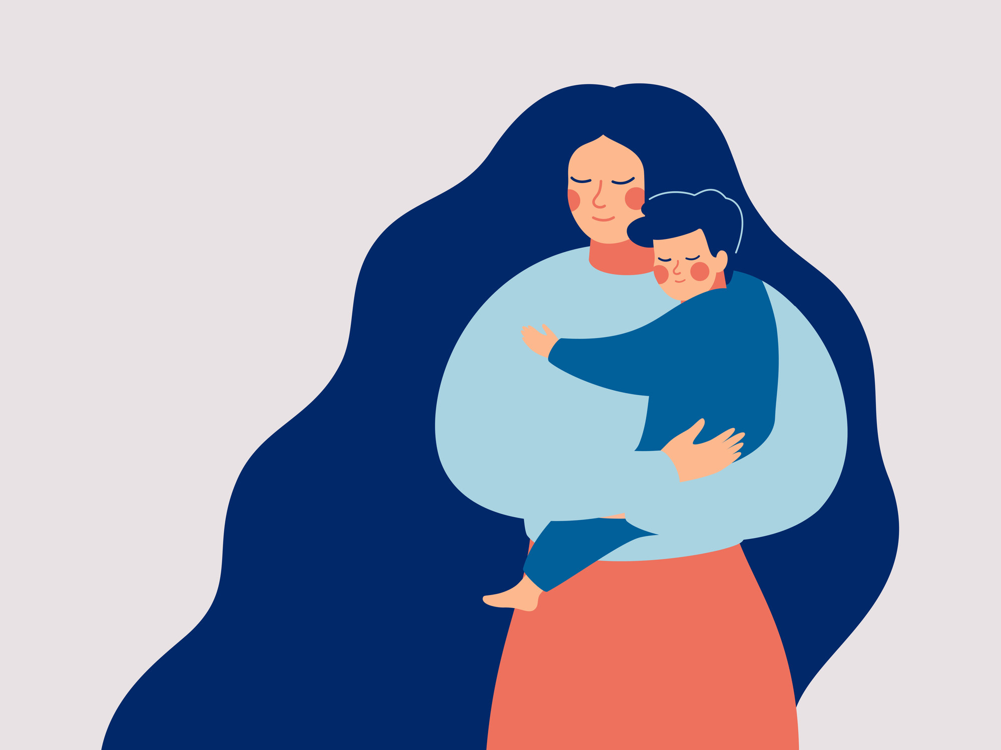 An illustration of a mother holding her son with care and love