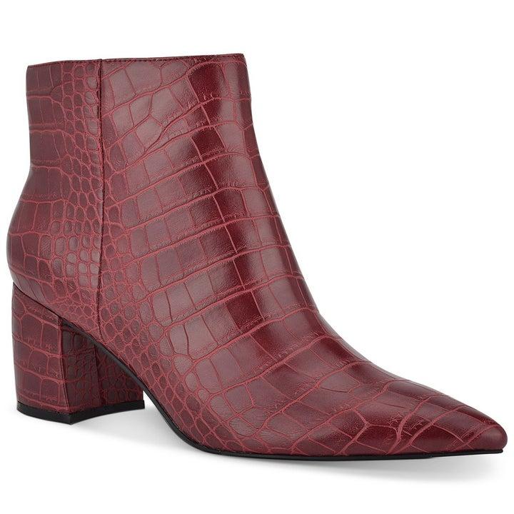 The block-heeled booties in deep red croco