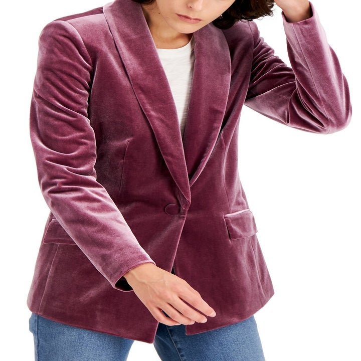 A different model wearing the blazer in lavender