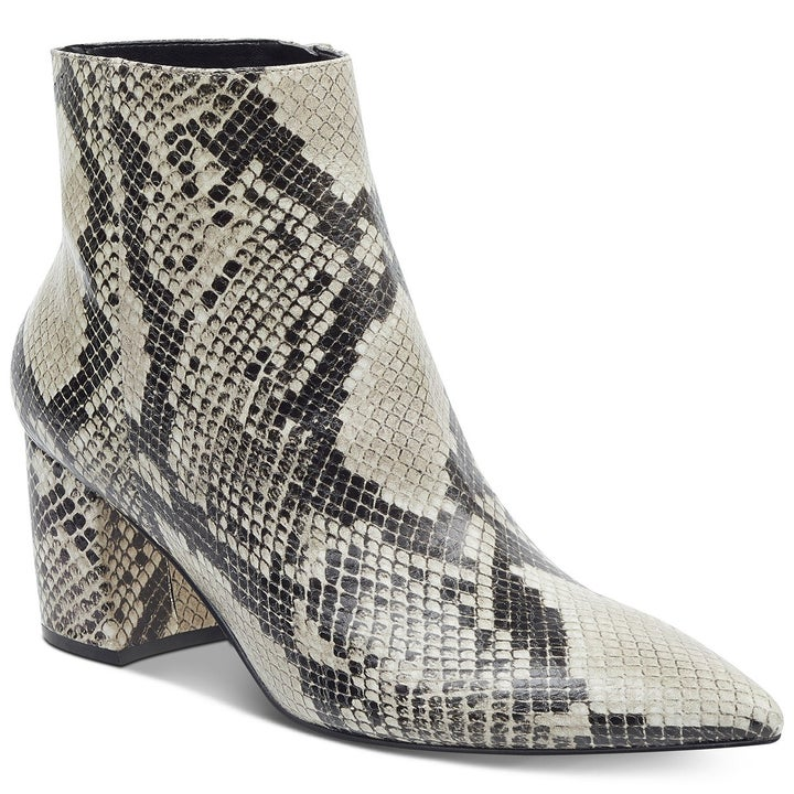 The block-heeled booties in snake multi