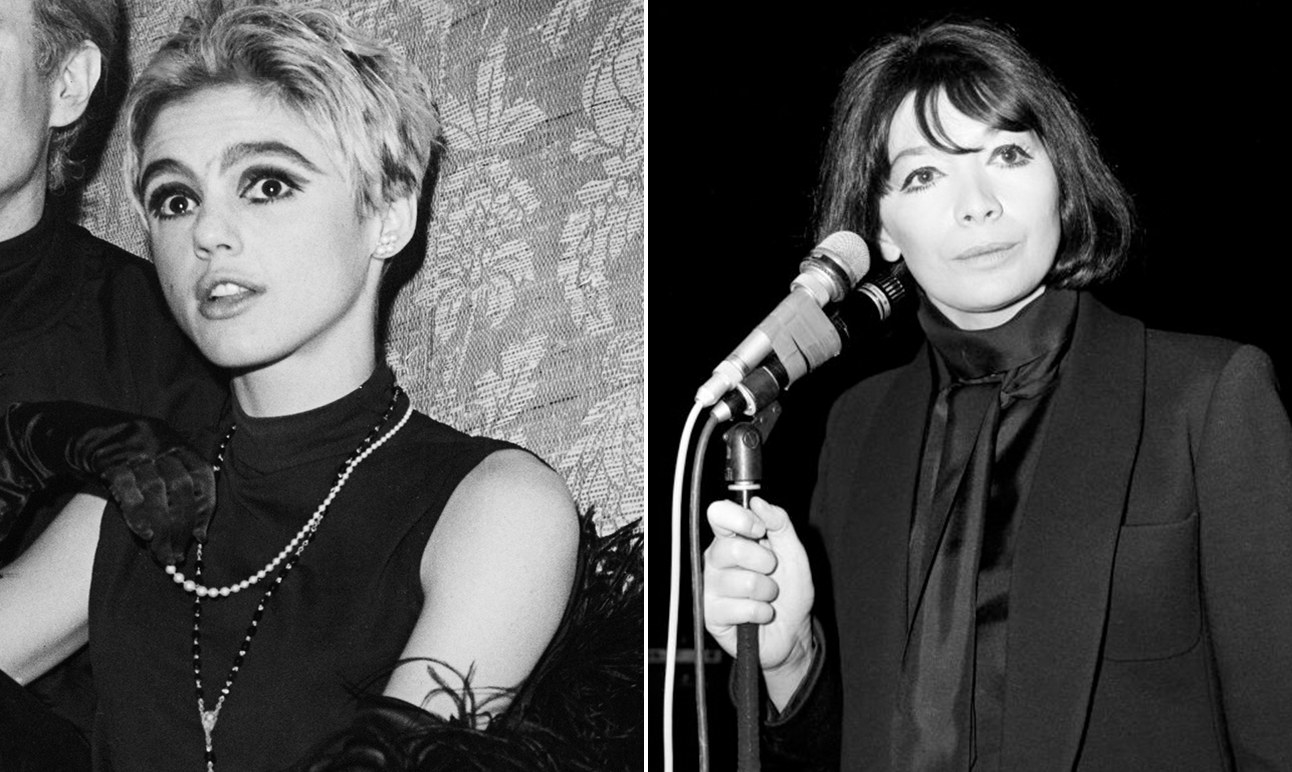 Edie Sedgwick wearing a black turtleneck and pearls and Juliette Gréco wearing black suit jacket and a black silk turtleneck