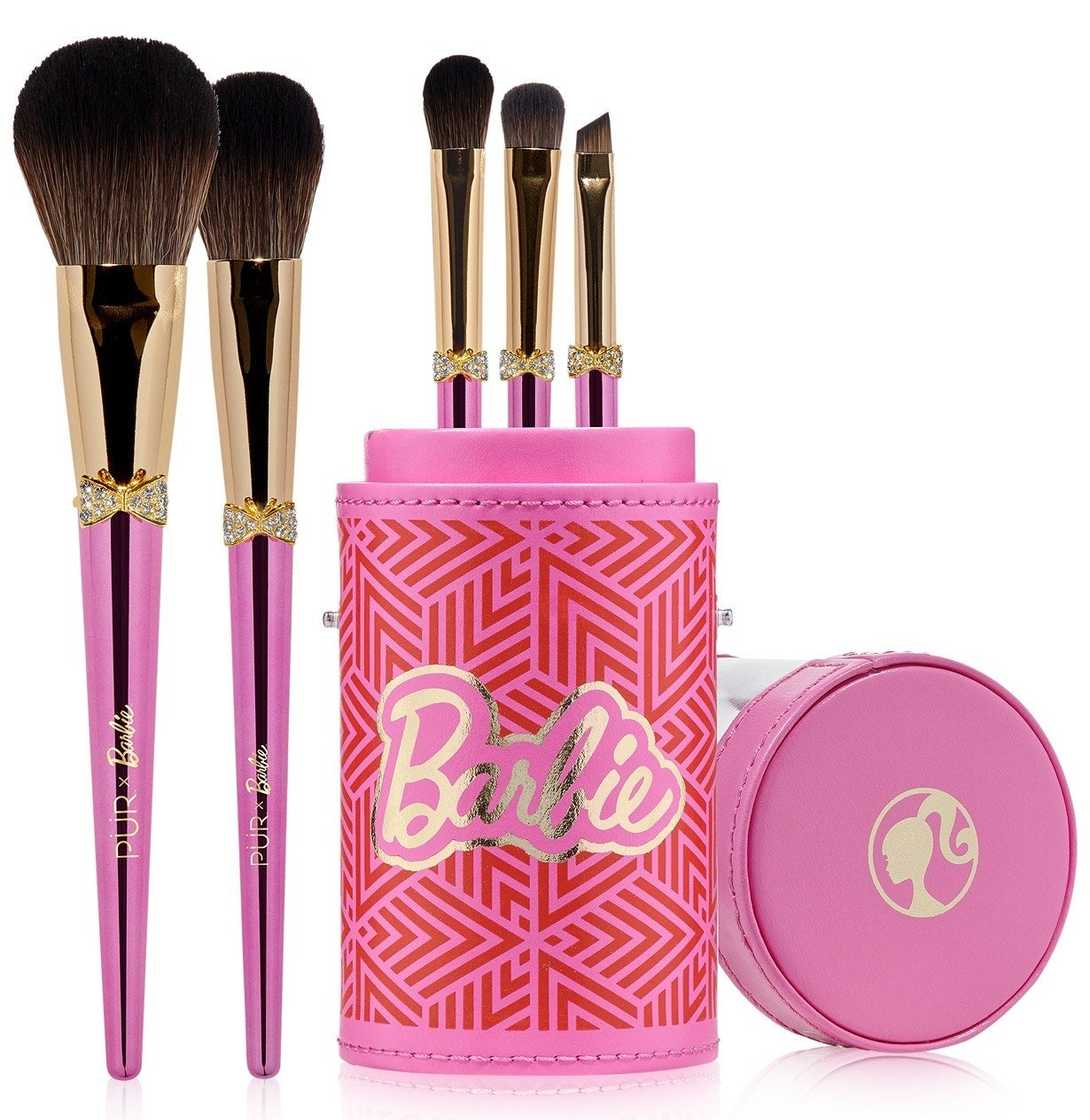 The six included brushes which are finished with pink and gold metallics and crystal bows